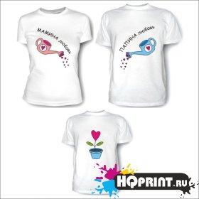 Комплект футболок Папин росточек – мамин цветочек