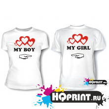 Парные футболки My boy, girl
