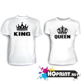 Футболки Король и королева ( с коронами)