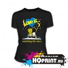 Футболка Love is ... watching the stars (синее сердце)