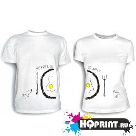 Парные футболки Яичница на двоих