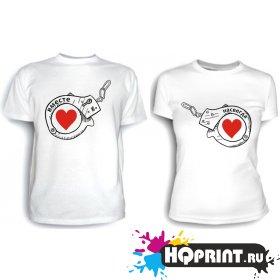 Парные футболки Вместе навсегда (наручники)