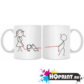 Кружки  прогулка с собакой