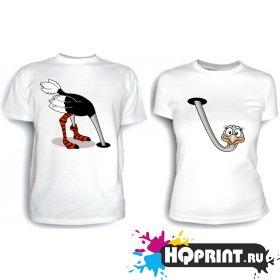 Парные футболки Страус