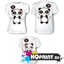Комплект футболок Панды - мама, папа, дочка