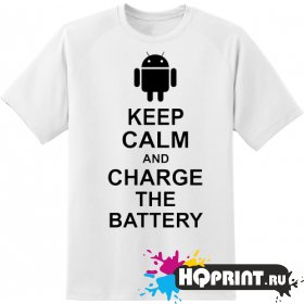Футболка keel calm charge the battery