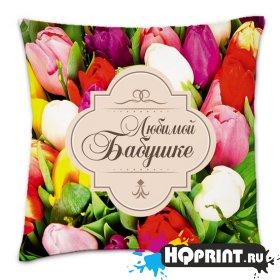 Подушка квадратная Любимой бабушке с цветами