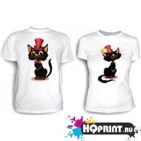 Парные футболки Коты в шляпе