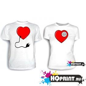 Парные футболки Сердце с розеткой