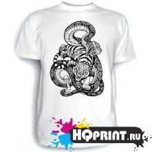 Футболка Тигр со змеей