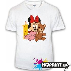 Детская футболка Минни с мишкой