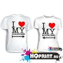 Парные футболки I love my boyfriend (girlfriend)