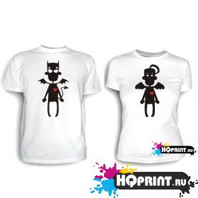 Парные футболки Черт и ангел 3