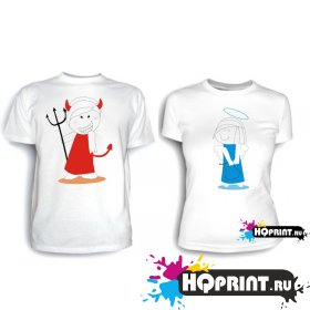 Парные футболки Дьявол и Ангел