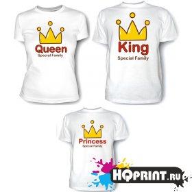 Комплект футболок Король, королева и принцесса