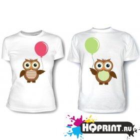 Парные футболки Совы с шариками