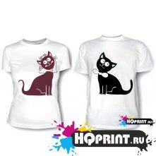 Парные футболки Кошки-молодожены