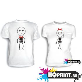 Парные футболки Скелеты