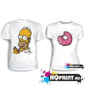 Парные футболки Гомер с пончиком