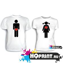 Парные футболки М и Ж (с сердечками)