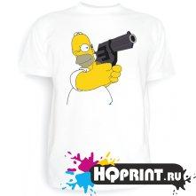 Футболка Гомер с пистолетом