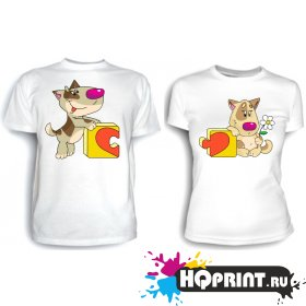 Парные футболки Пазл (собачки)