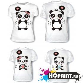 Комплект футболок Панды - мама, папа, дочка, сын