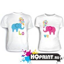 Парные футболки Love (слоны)