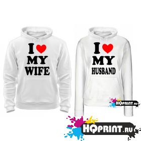 Парные толстовки I love my wife husband