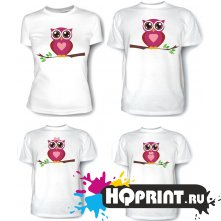 Комплект футболок Совы - мама, папа, дочка, сын