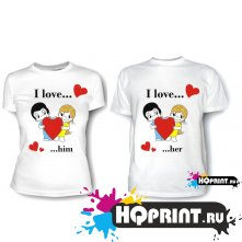 Парные футболки Love is I love him(her)