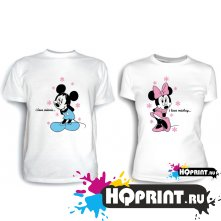 Парные футболки I love mickey (minnie)