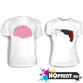 Парные футболки Мозг и дрель