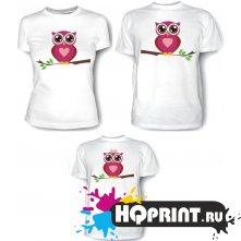 Комплект футболок Совы - мама, папа, дочка