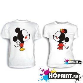 Парные футболки Миккимаусы целуются