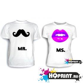 Парные футболки Mr и Mrs