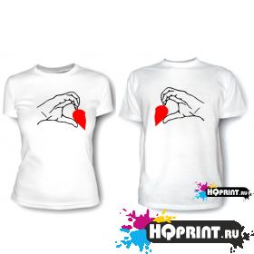 Парные футболки Сердце в руках