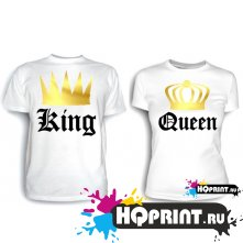 Парные футболки King and Queen